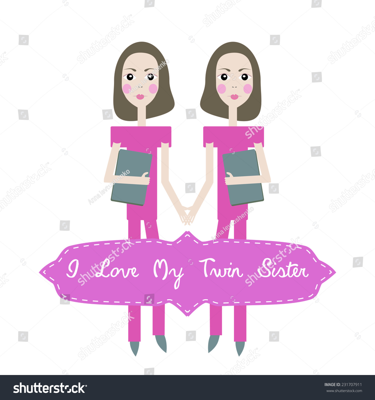 Vector Happy Birthday Card Invitation Background For Twins With Text I Love My Twin