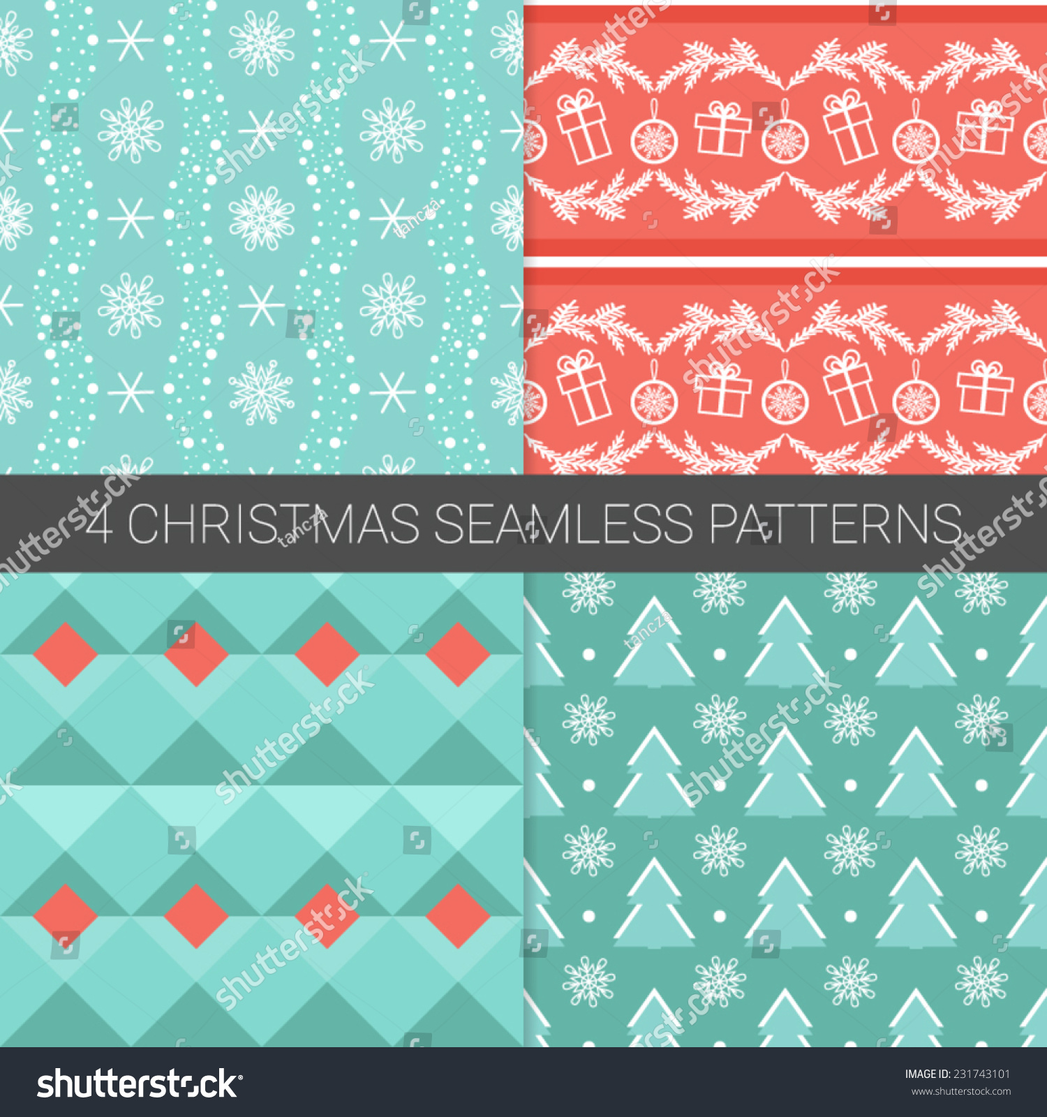 Set Simple Christmas Patterns Christmas Tree Stock Vector Royalty