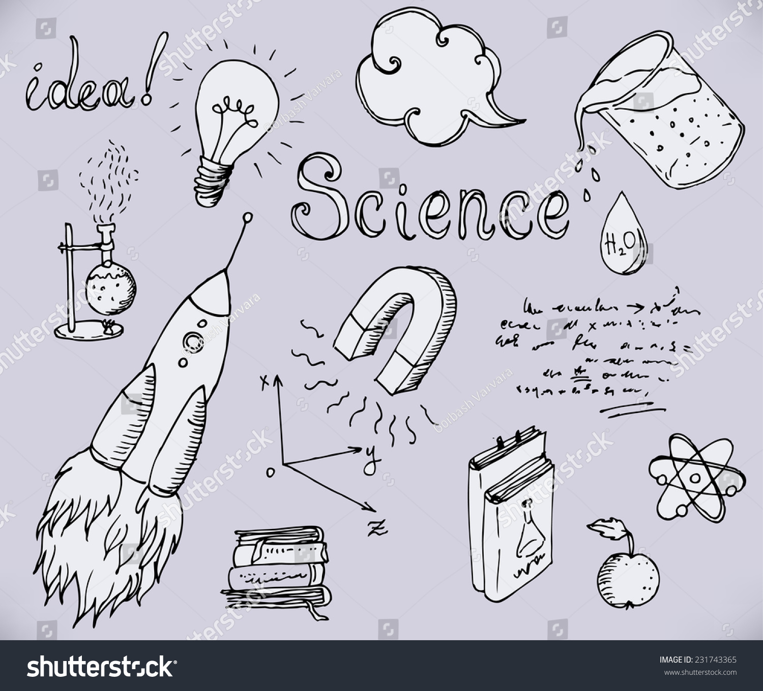 Science And Education Seamless Pattern. Hand Drawn Vintage ...