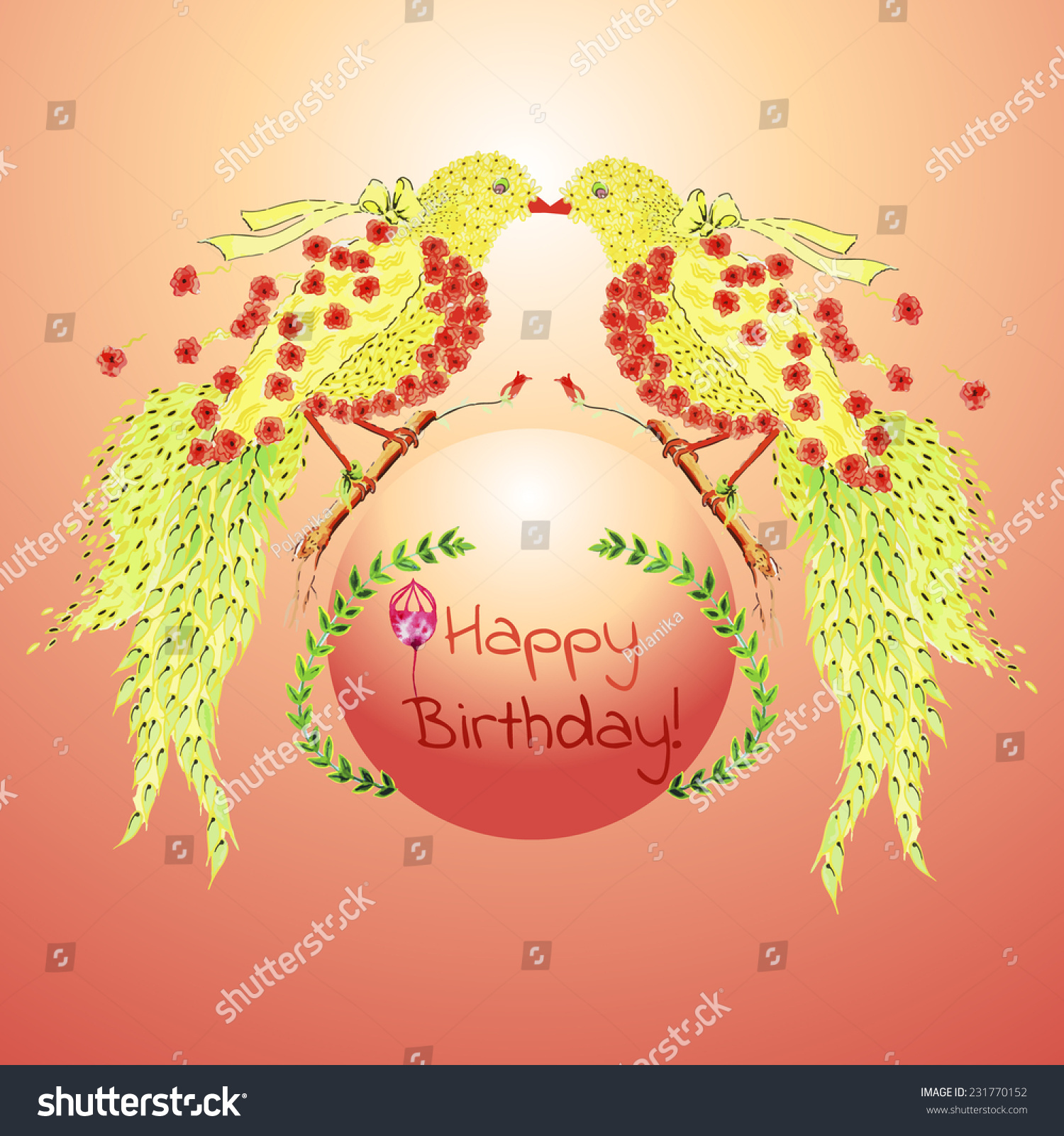 Happy Birthday Card Hand Painted Watercolor Stock Vector