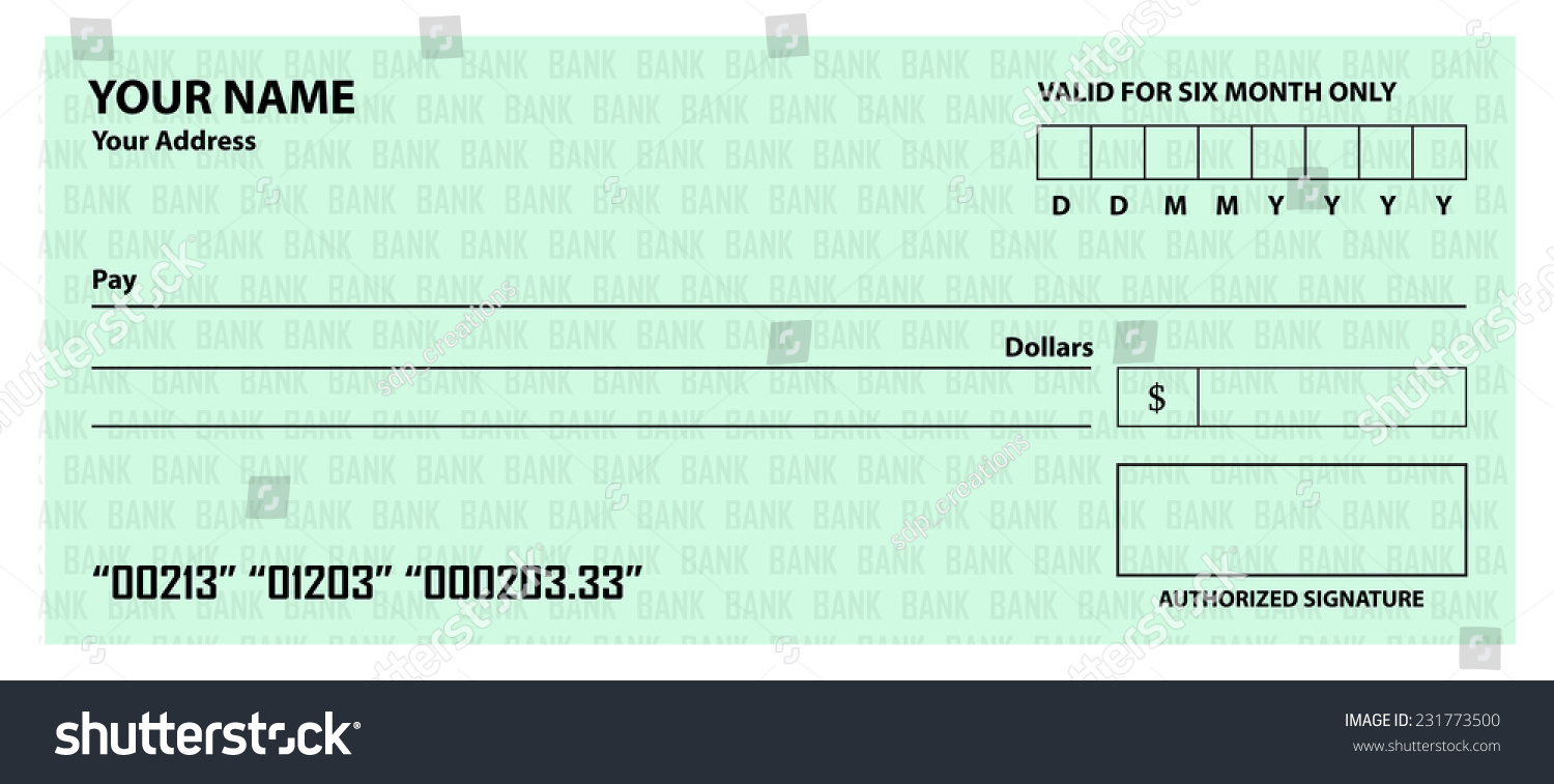 Blank Cheque Template Stock Vector 231773500 - Shutterstock
