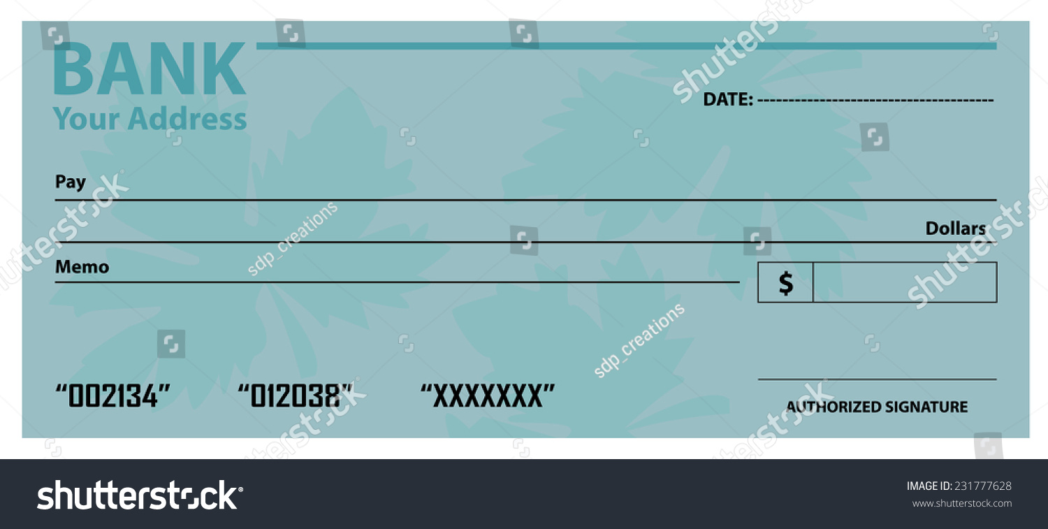 Blank Cheque Template Stock Vector 231777628 - Shutterstock