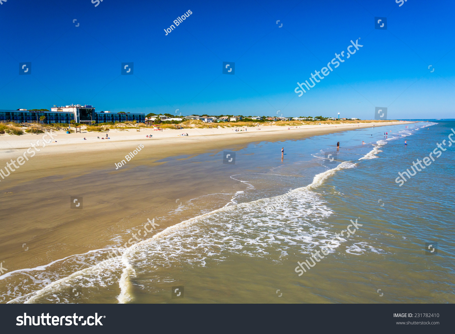 View of the beach from the fishing pier at tybee island for Tybee island fishing pier
