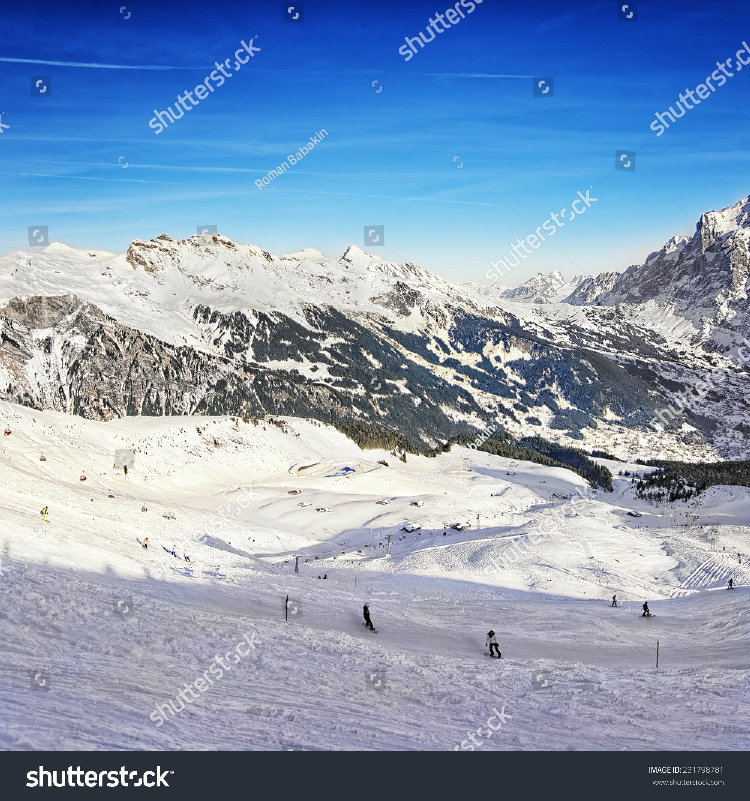 People on ski snowboards on winter stock photo download now people on ski and snowboards on winter sport resort in swiss alps valley and peaks publicscrutiny Gallery