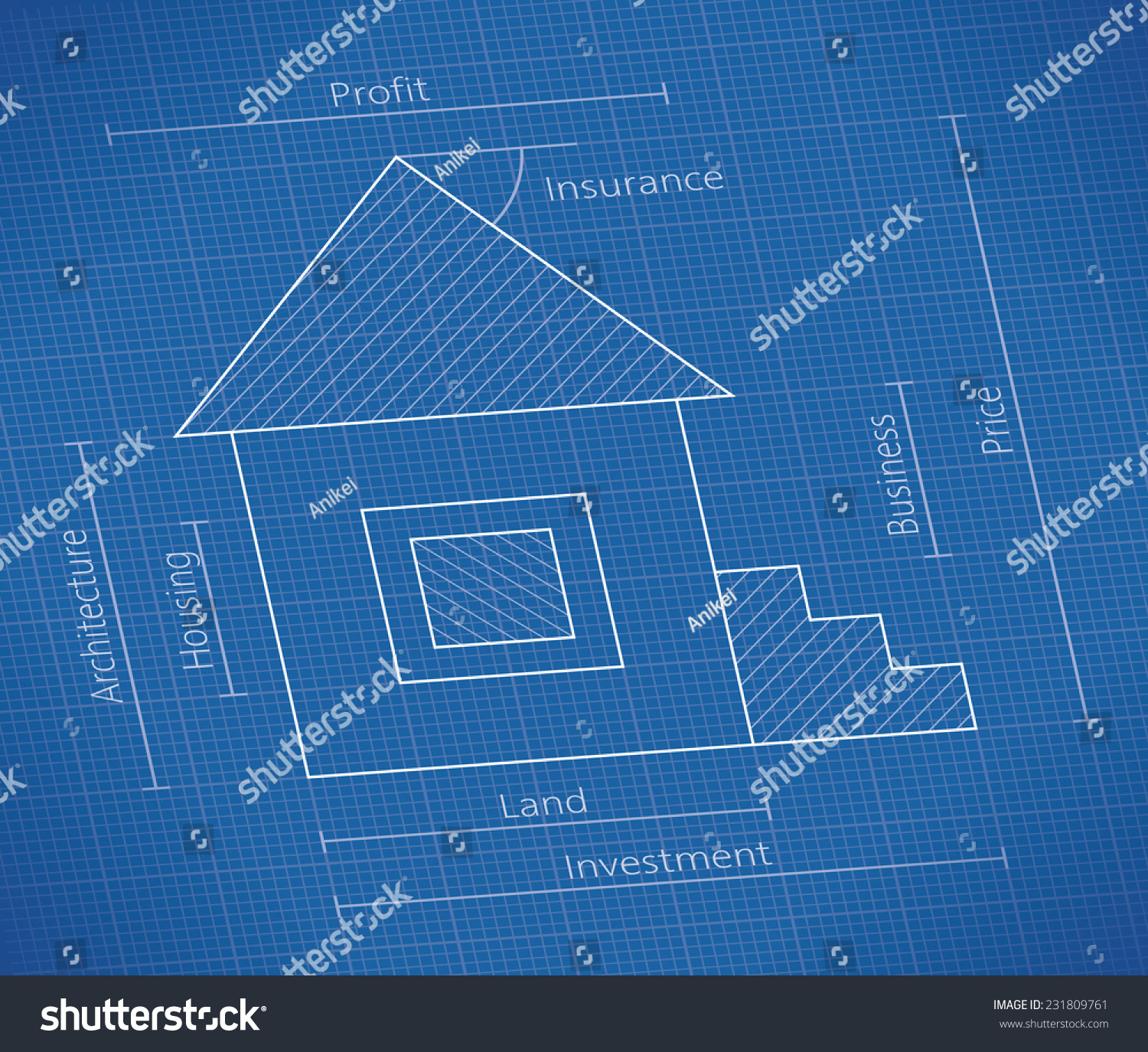 Abstract real property blueprint house schematic stock vector abstract real property blueprint with house schematic and investment price land business malvernweather Gallery