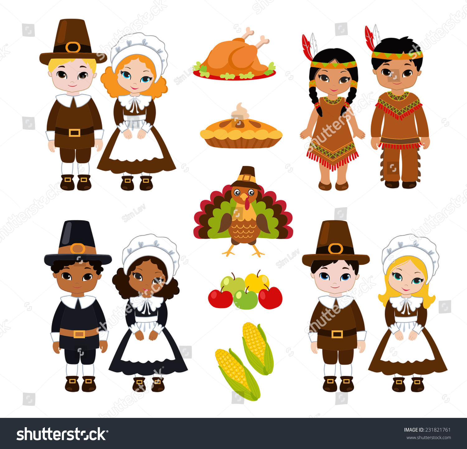 Group Kids Indians Pilgrims Sharing Food Stock Vector ...