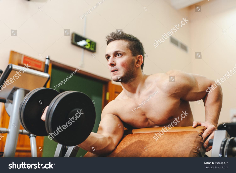 Bodybuilder Lifting Dumbells, Closeup 2 Stock Image