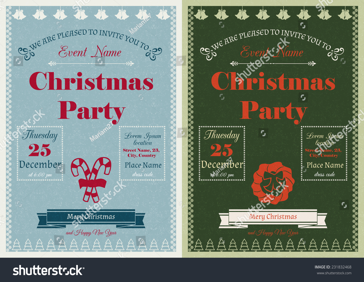 Set Vector Vintage Christmas Party Invitations Stock Vector ...