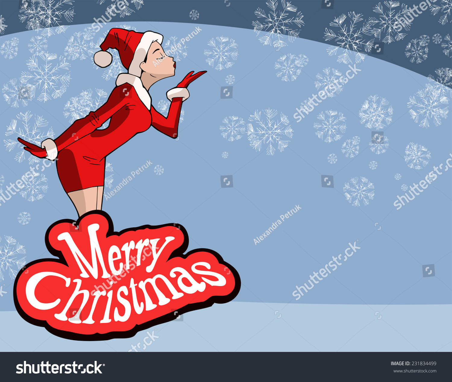 Christmas Illustration Cartoon Sexy Girl Wearing Stock -7011