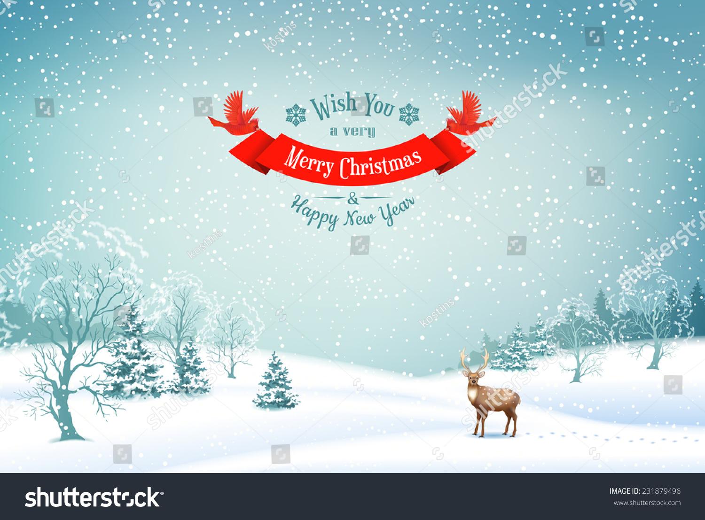 Winter Christmas Landscape Vector Background Snow Stock Vector ...