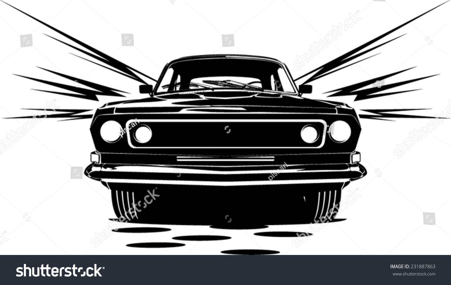 Illustration Classic Car Abstract Silhouette Front Stock Vector
