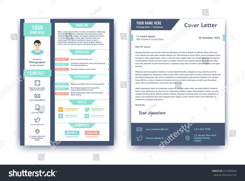 resume cover letter cv vector design stock vector 231896029