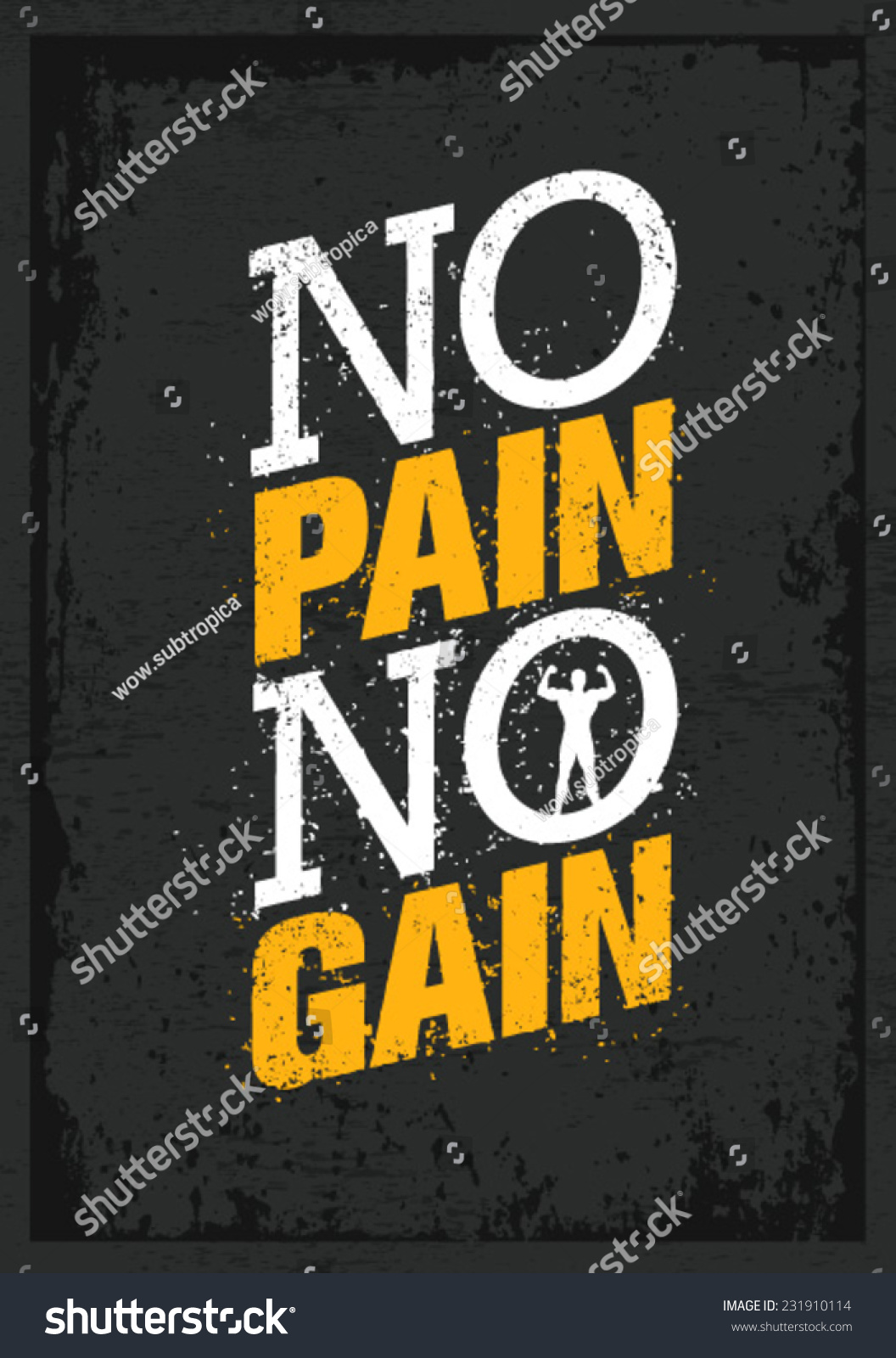 No Pain No Gain Workout Fitness Stock Vector Royalty Free 231910114