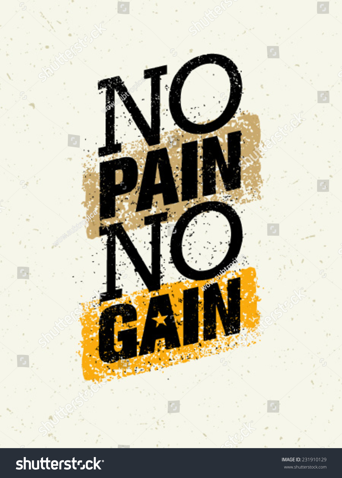 No Pain No Gain Workout Fitness Stock Vector Royalty Free 231910129