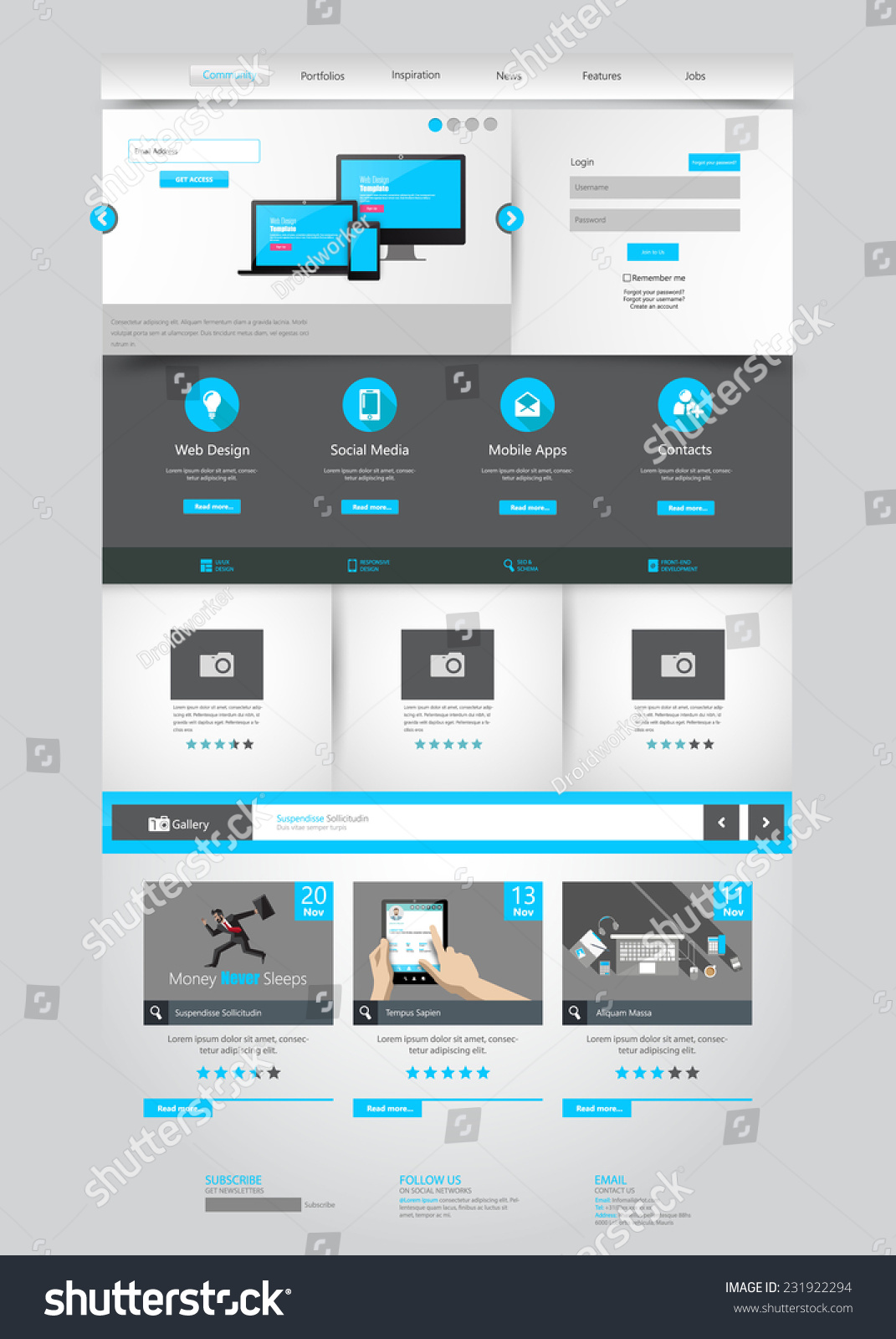 One page business website template home stock vector 231922294 one page business website template home page design clean and simple vector illustration wajeb Images