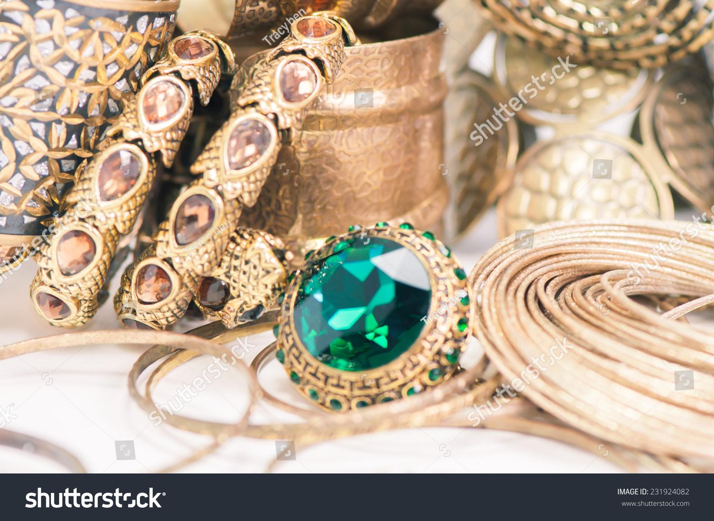 Beautiful Rings Bangles On Handexpensive Gold Stock Photo ...