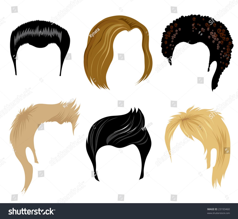 RASTER Set Hair Style Samples Man Stock Illustration 23193460 ...