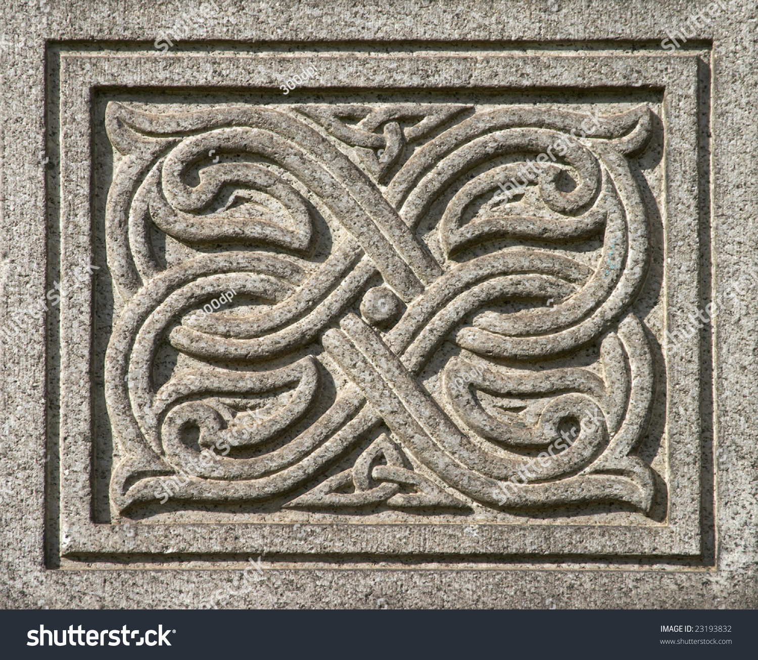 Ancient celtic ornament carving stone stock photo