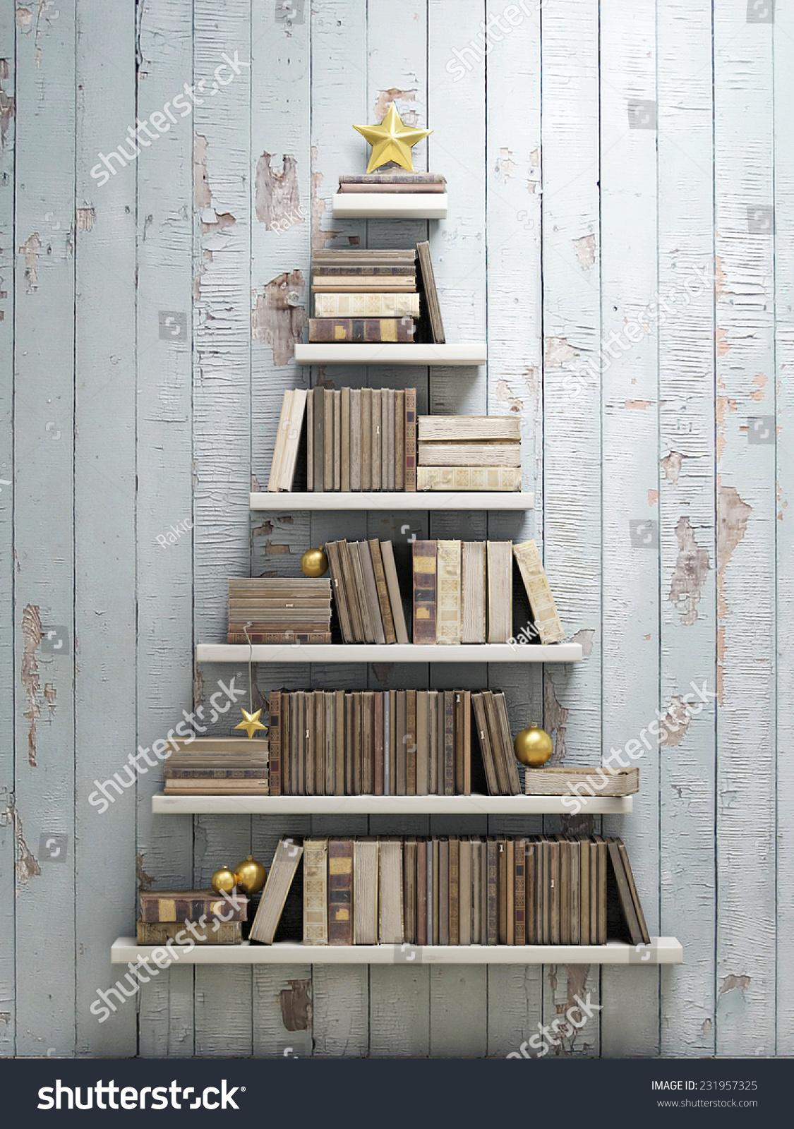 Bookshelf shaped christmas tree background stock photo - Bookshelf shaped like a tree ...