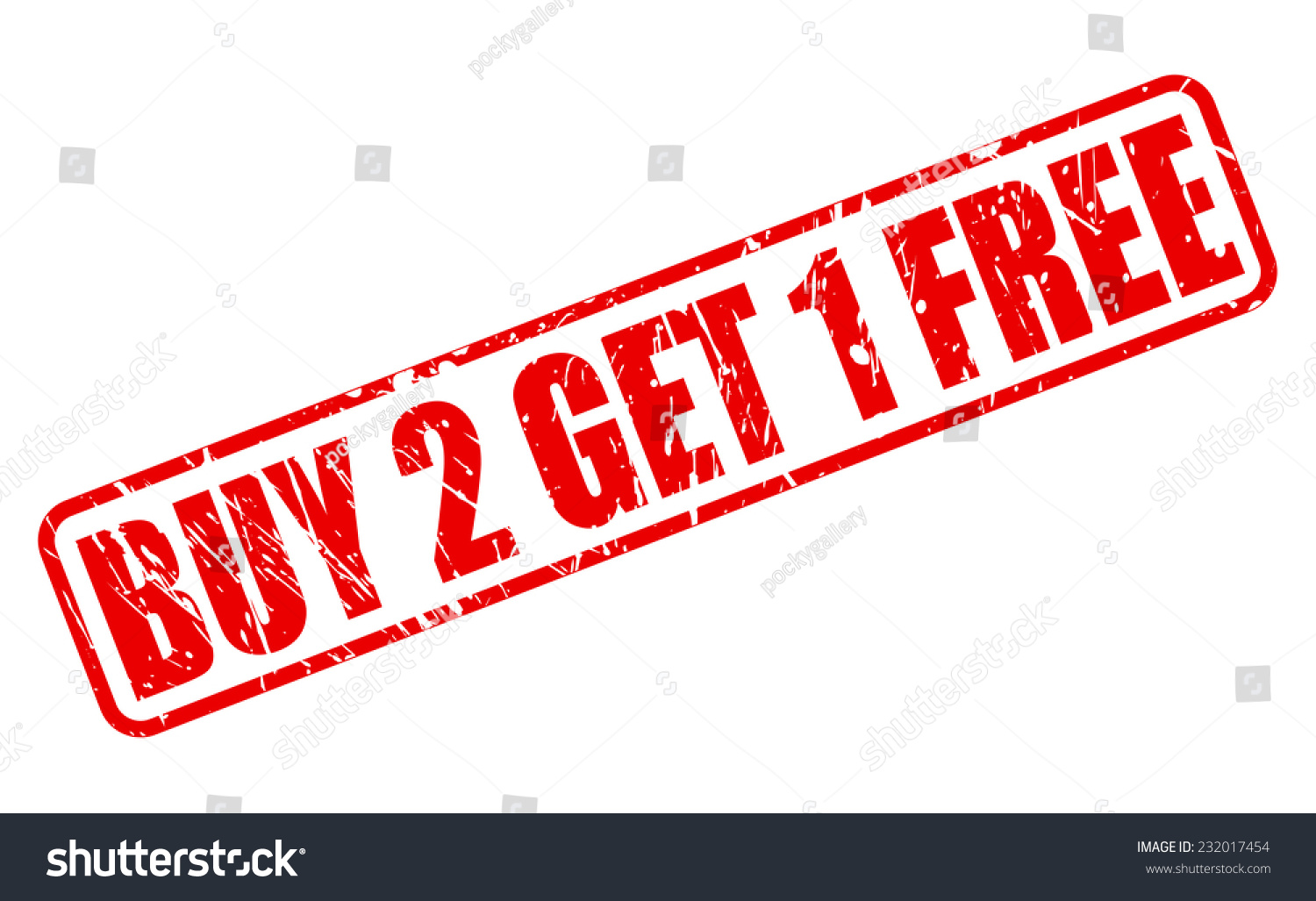 Buy 2 Get 1 Free Red Stamp Text On White Stock Vector