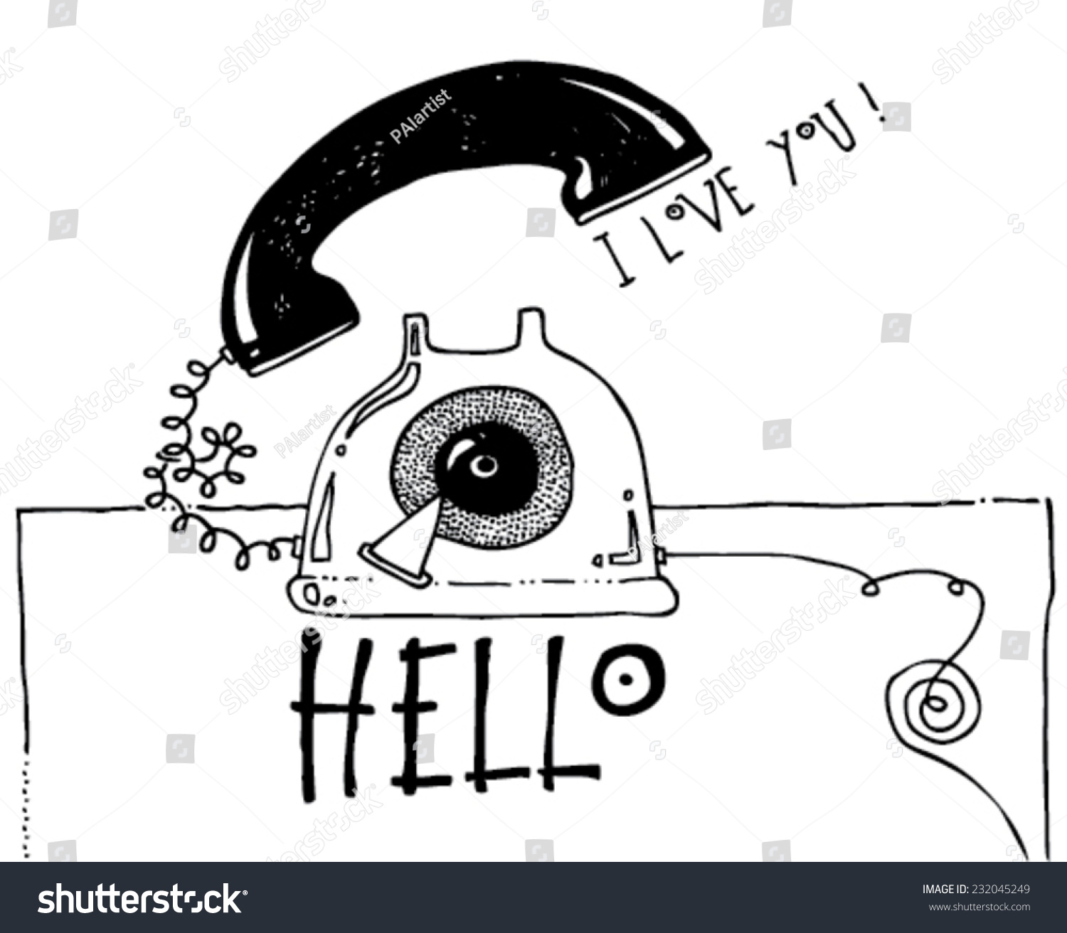 Black white illustration greeting card telephone stock vector black and white illustration greeting card of a telephone funny message hello kristyandbryce Gallery