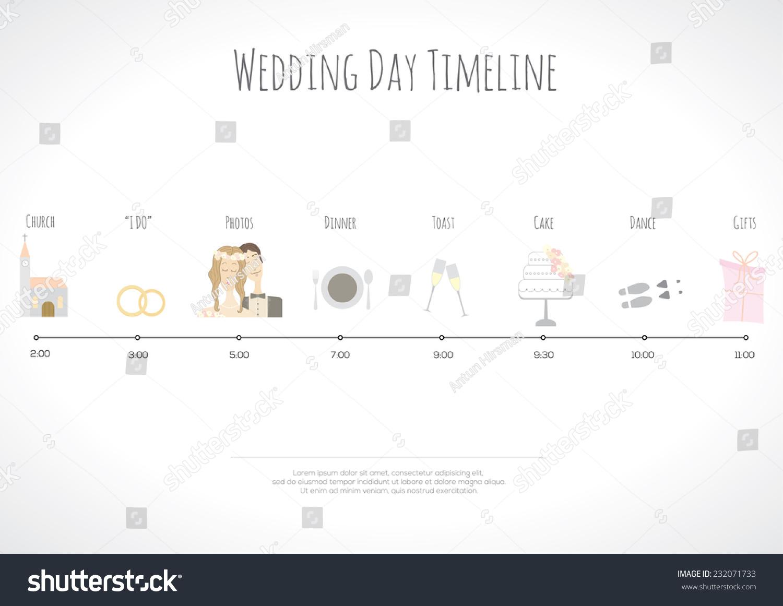 wedding timeline infographic vector illustration stock vector