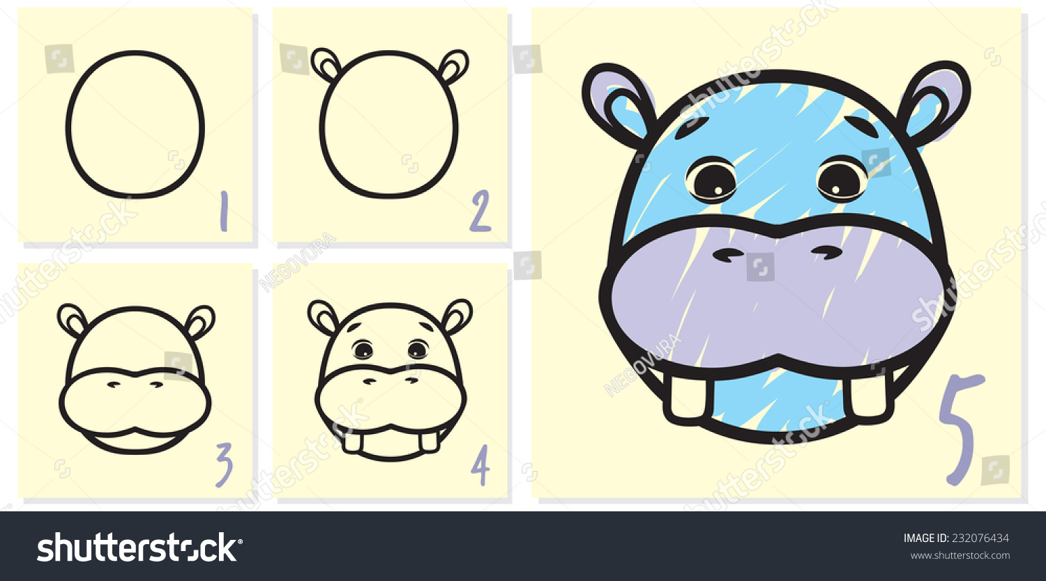 hippo drawing tutorial stock vector royalty free 232076434