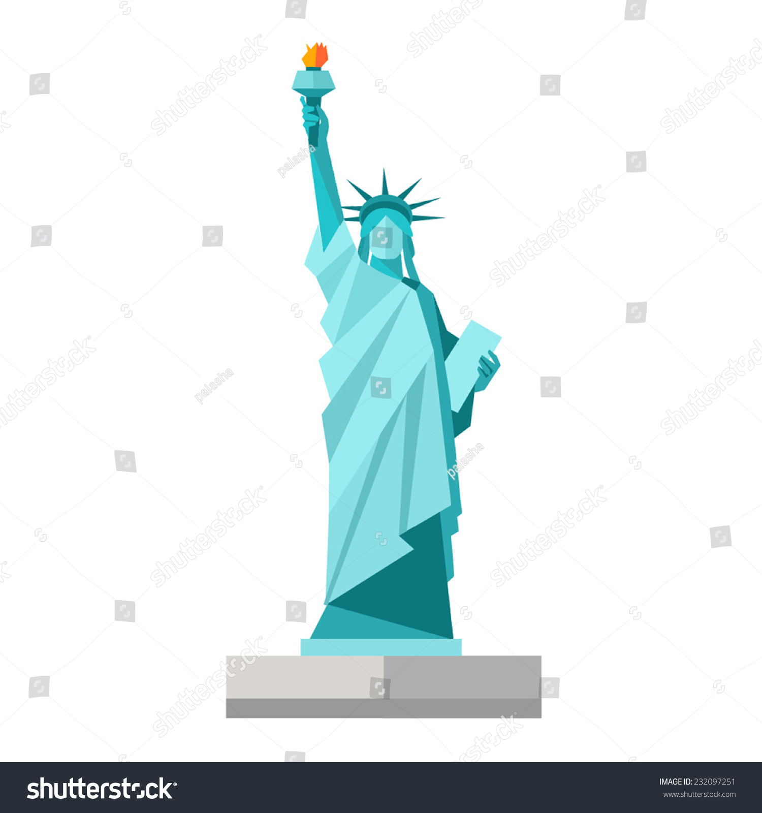 Isolated statue of liberty on white background. Flat style. Vector illustration