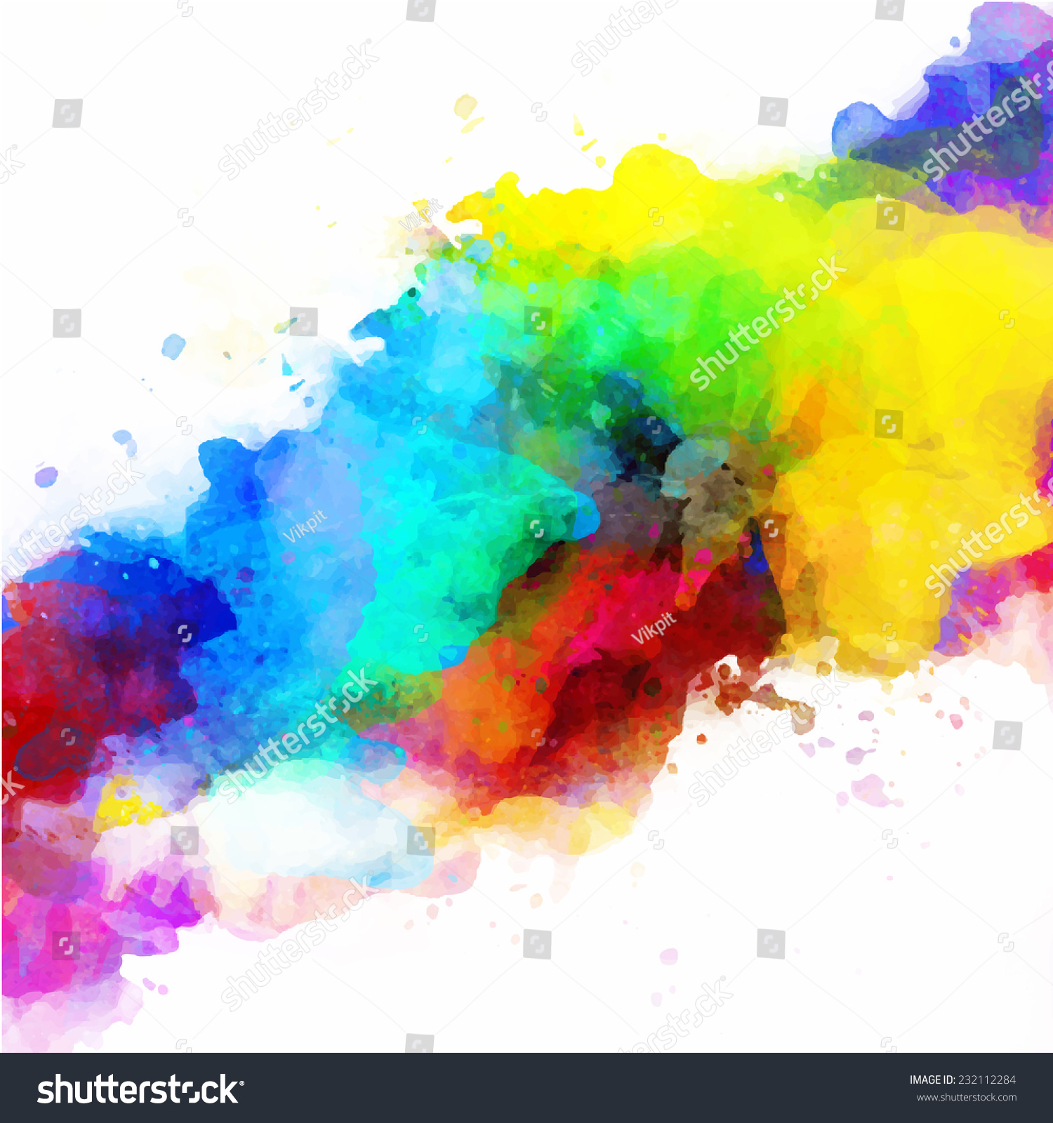 Vector Abstract Watercolor Palette Of Mix Colors A