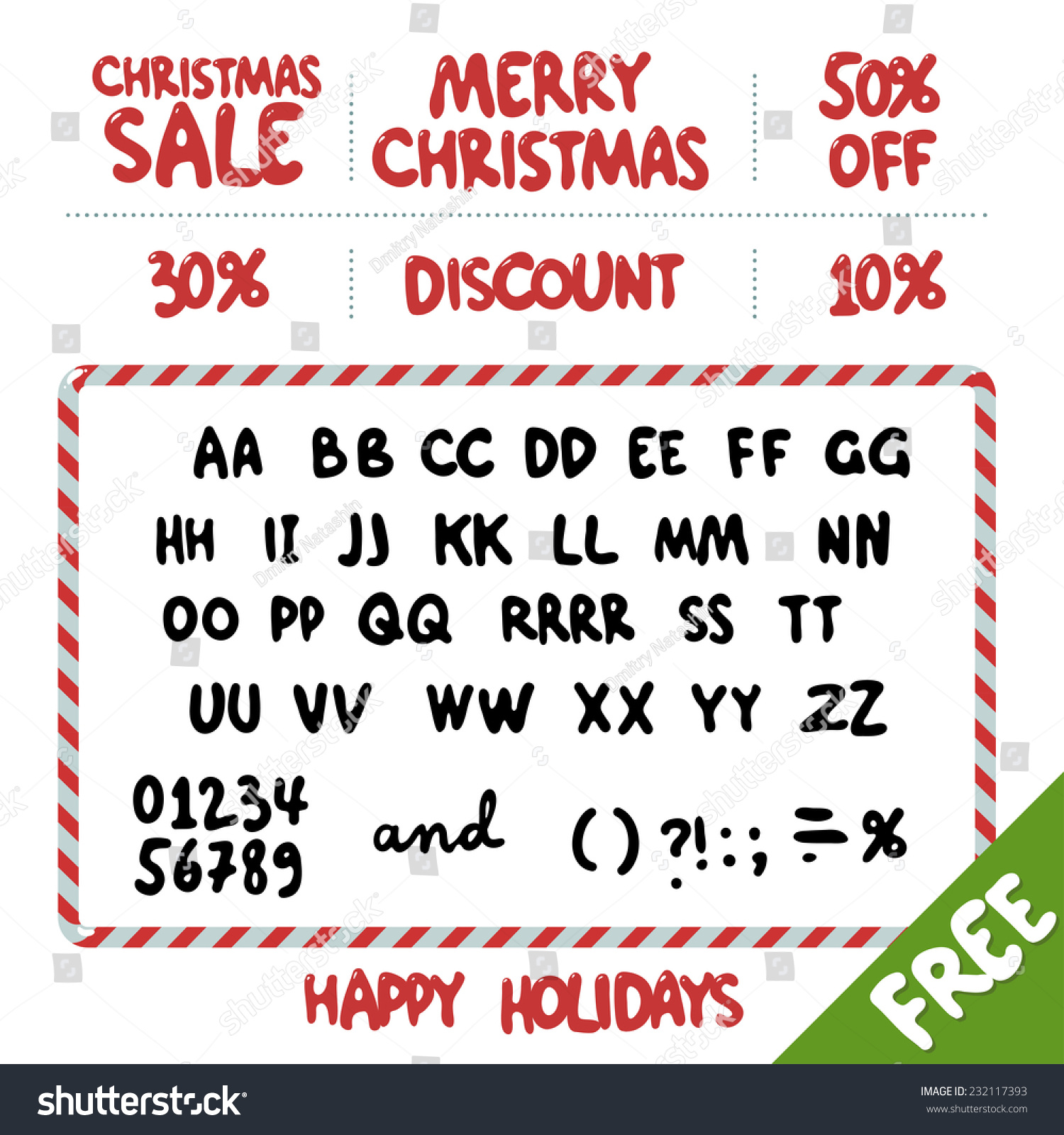Rounded Accidental Font Christmas Sale Offers Stock Vector Royalty
