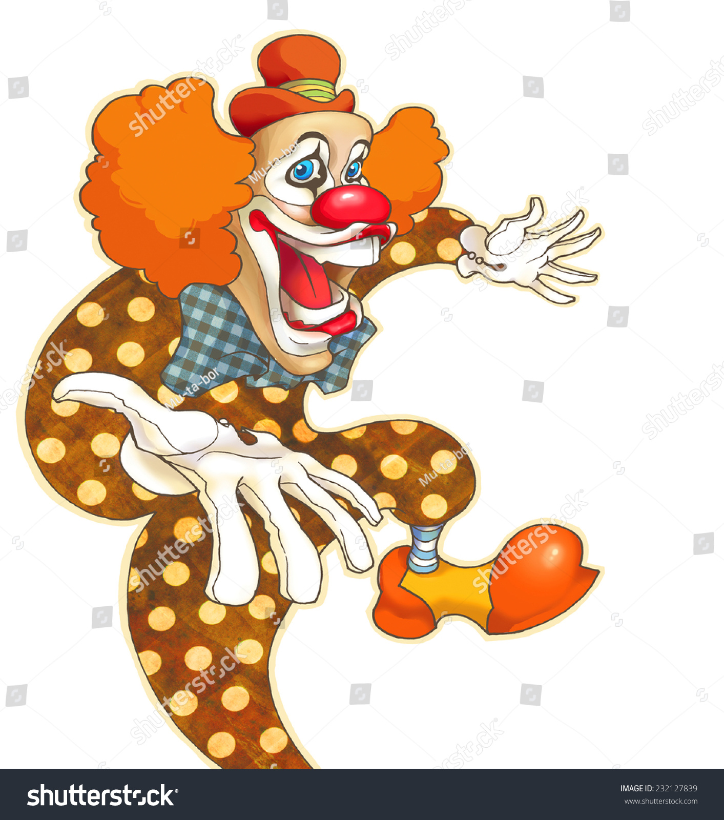 Vintage Cartoon Clown Clown Hand Draw Stock Illustration