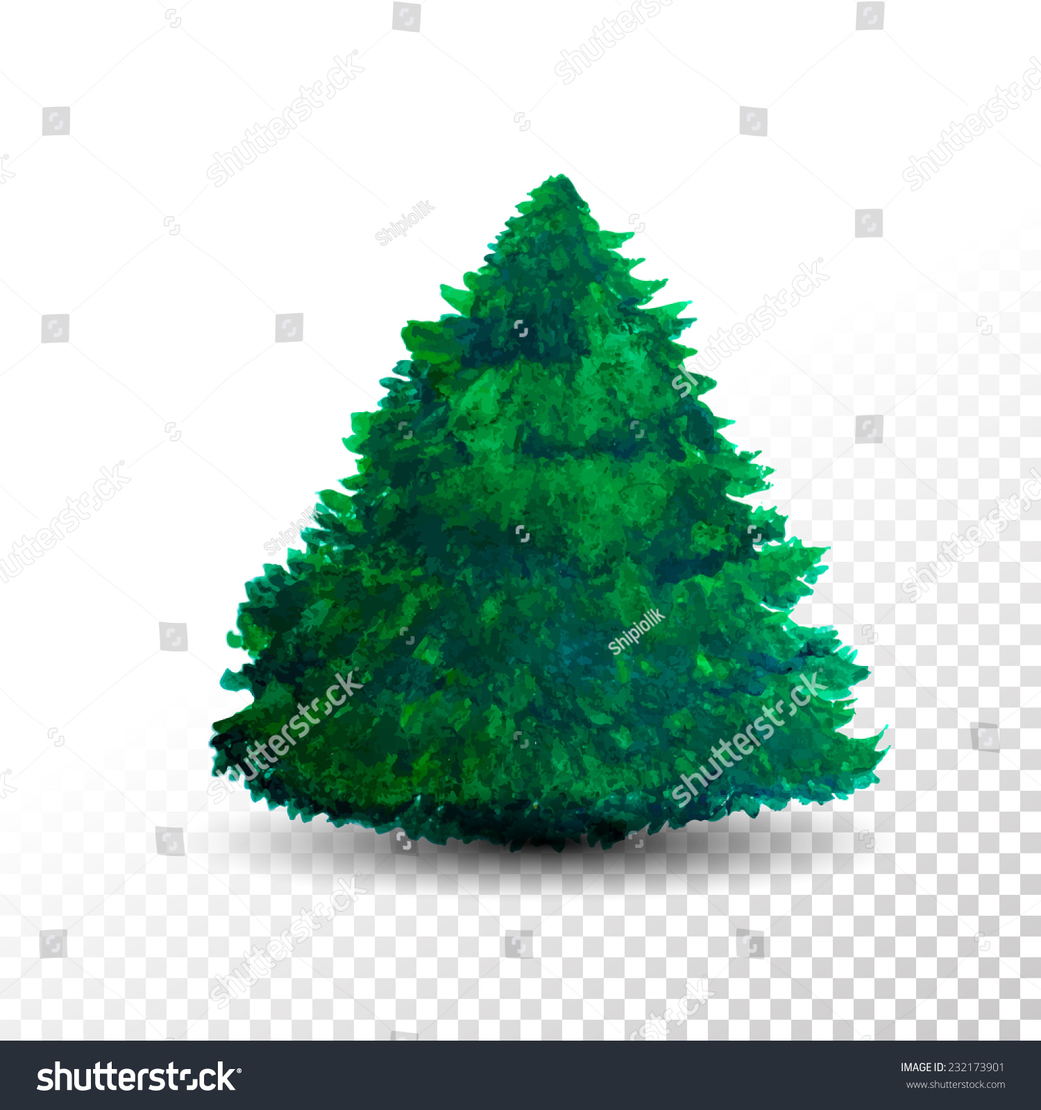 christmas tree isolated on transparent background watercolor vector illustration - Christmas Tree Transparent