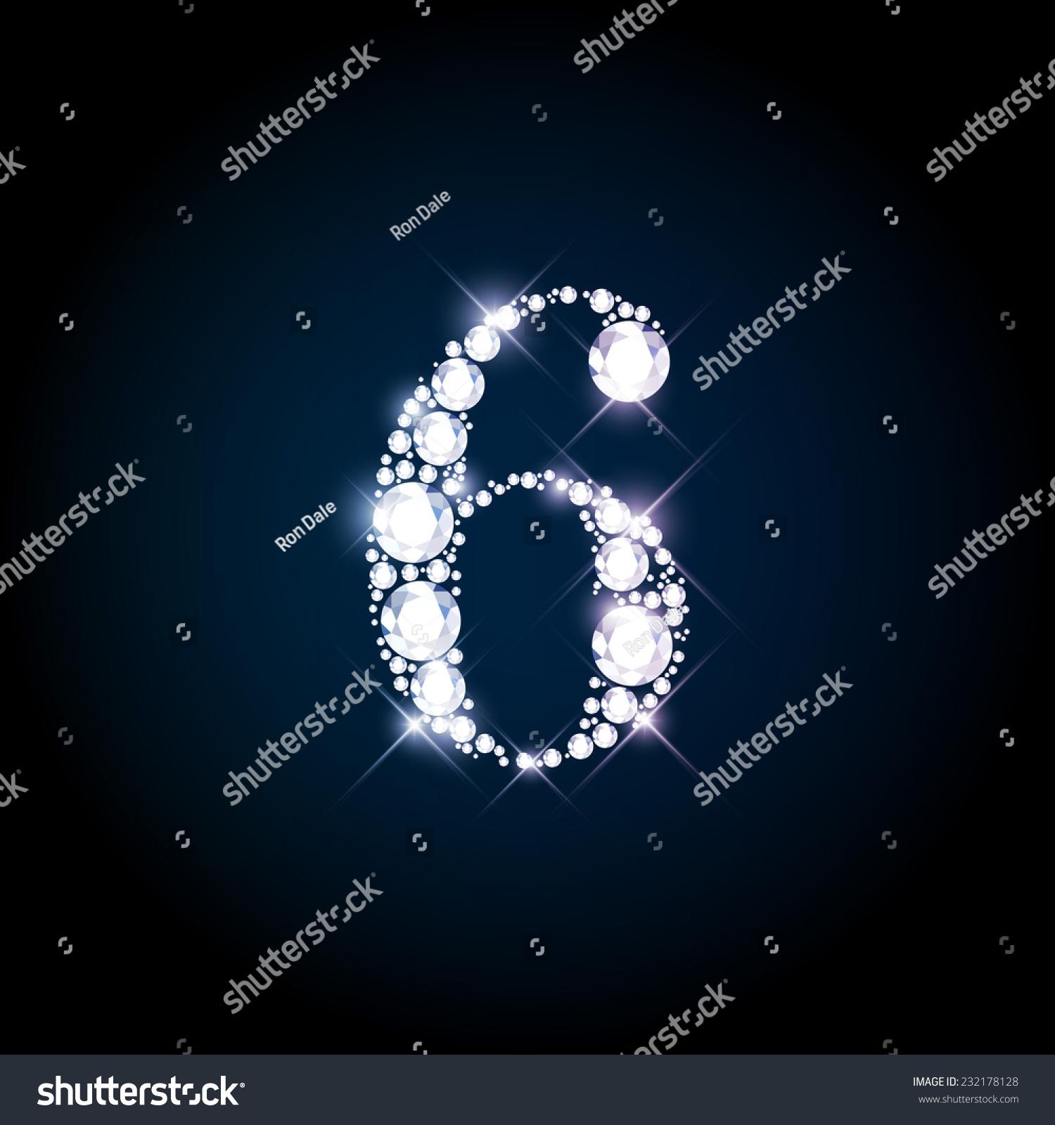 Diamond Glittering Number 6 Six Sparkling Stock Vector 232178128