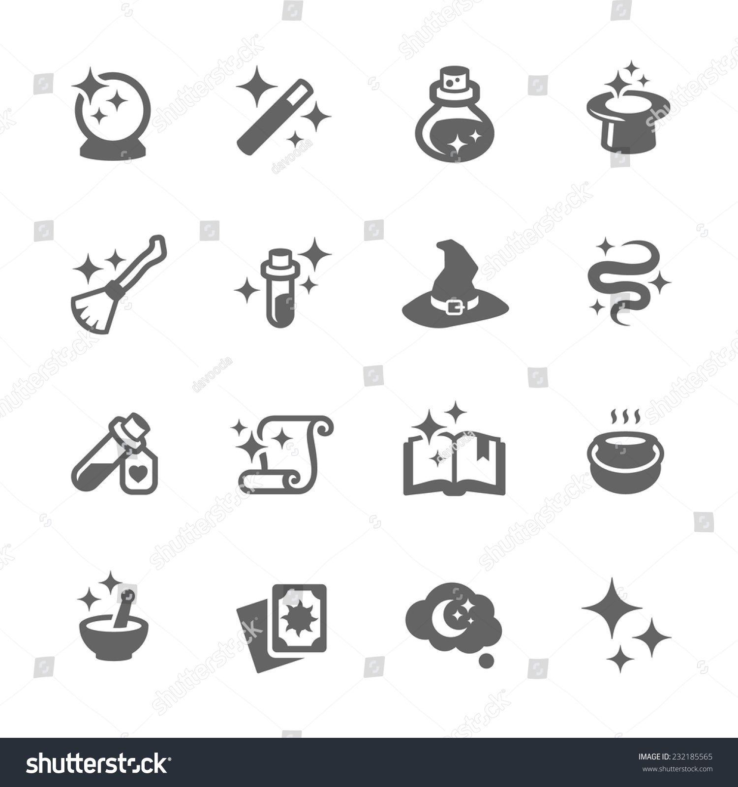 Simple Set Magic Related Vector Icons Stock Vector ...