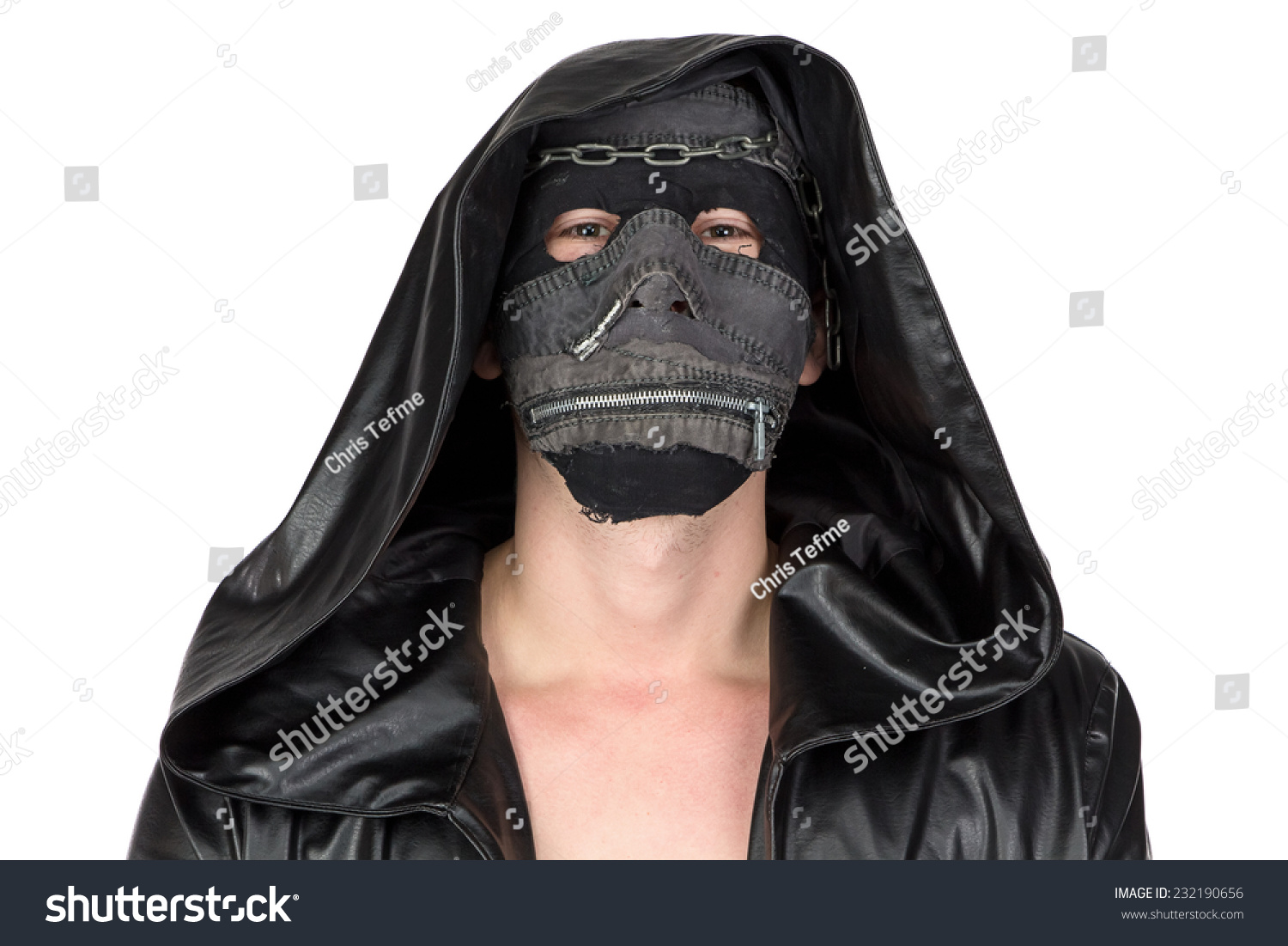 photo man dressed hooded cloak on stock photo 232190656