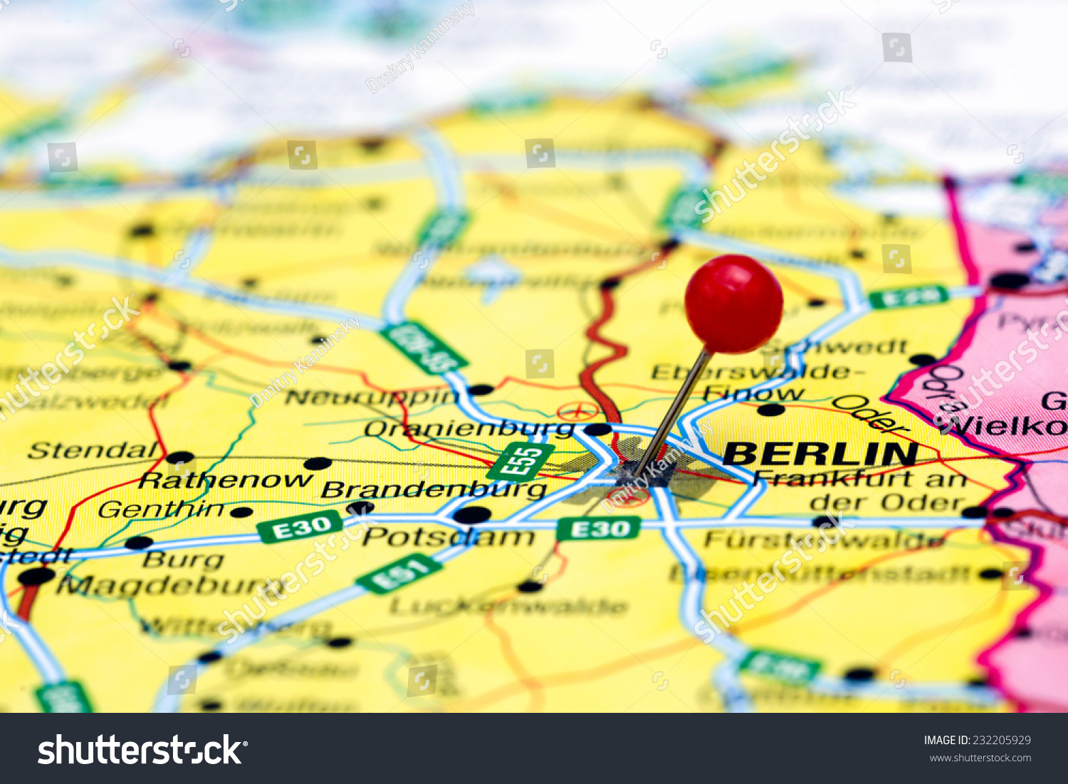 Berlin Pinned On Map Europe Stock Photo Edit Now 232205929