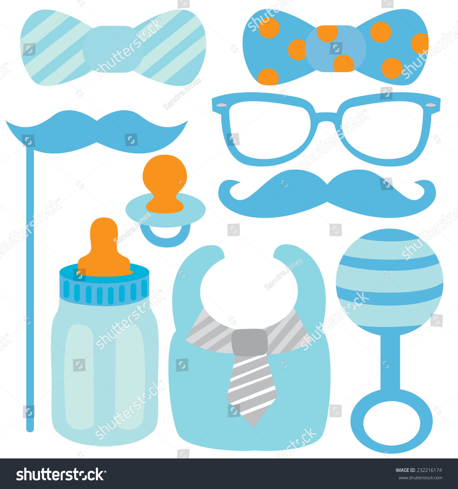 Hipster Baby Boy Stock Vector Illustration 232216174 ...