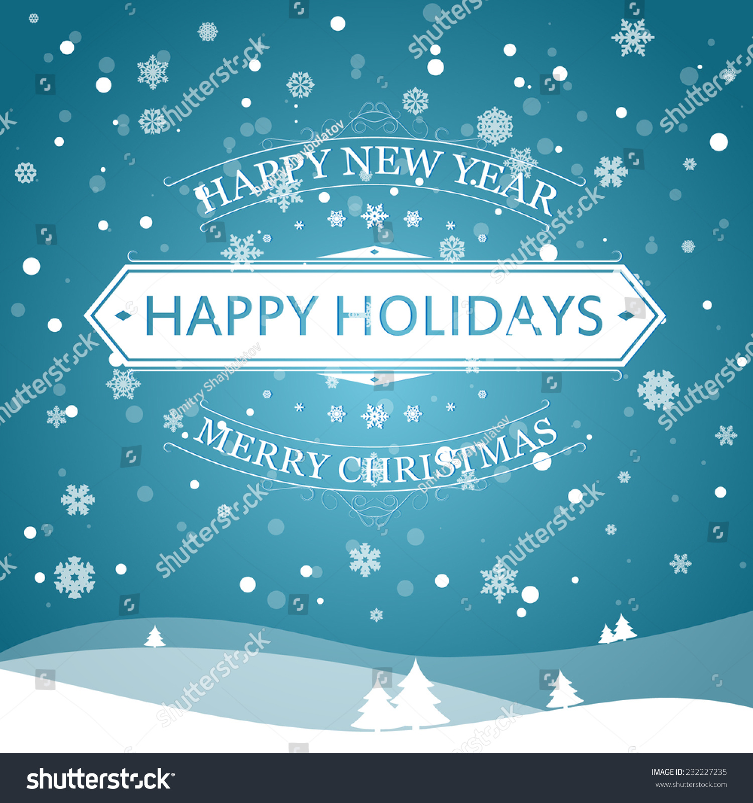 happy new year happy holidays and merry christmas vector illustration for holiday design party