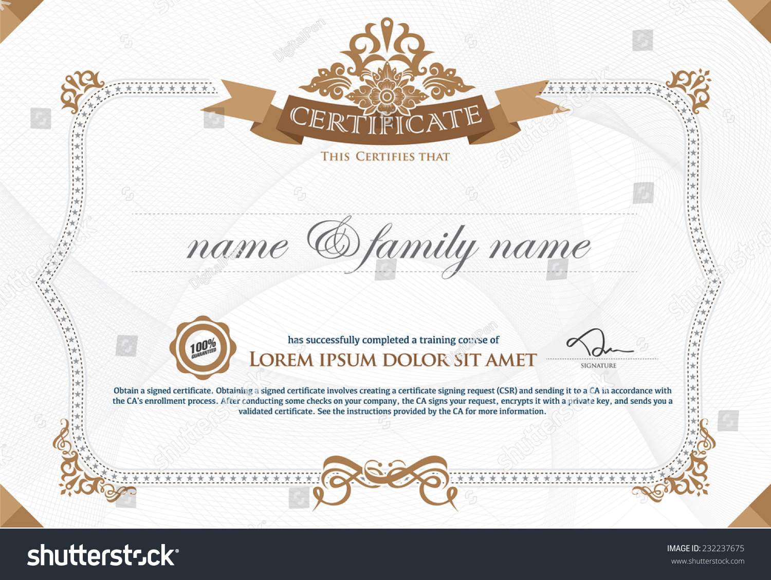 Royalty free gold horizontal certificate template 232237675 gold horizontal certificate template with additional design elements premium vip certificate vector illustration of gold 1betcityfo Gallery