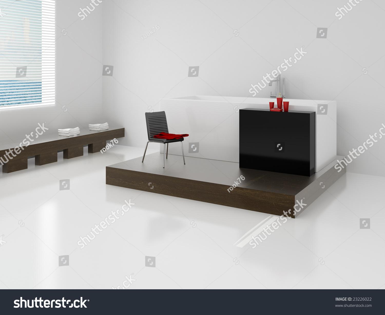 Designer Bathroom. High Resolution Image Interior. A Bathroom In Modern  Style. 3d Illustration