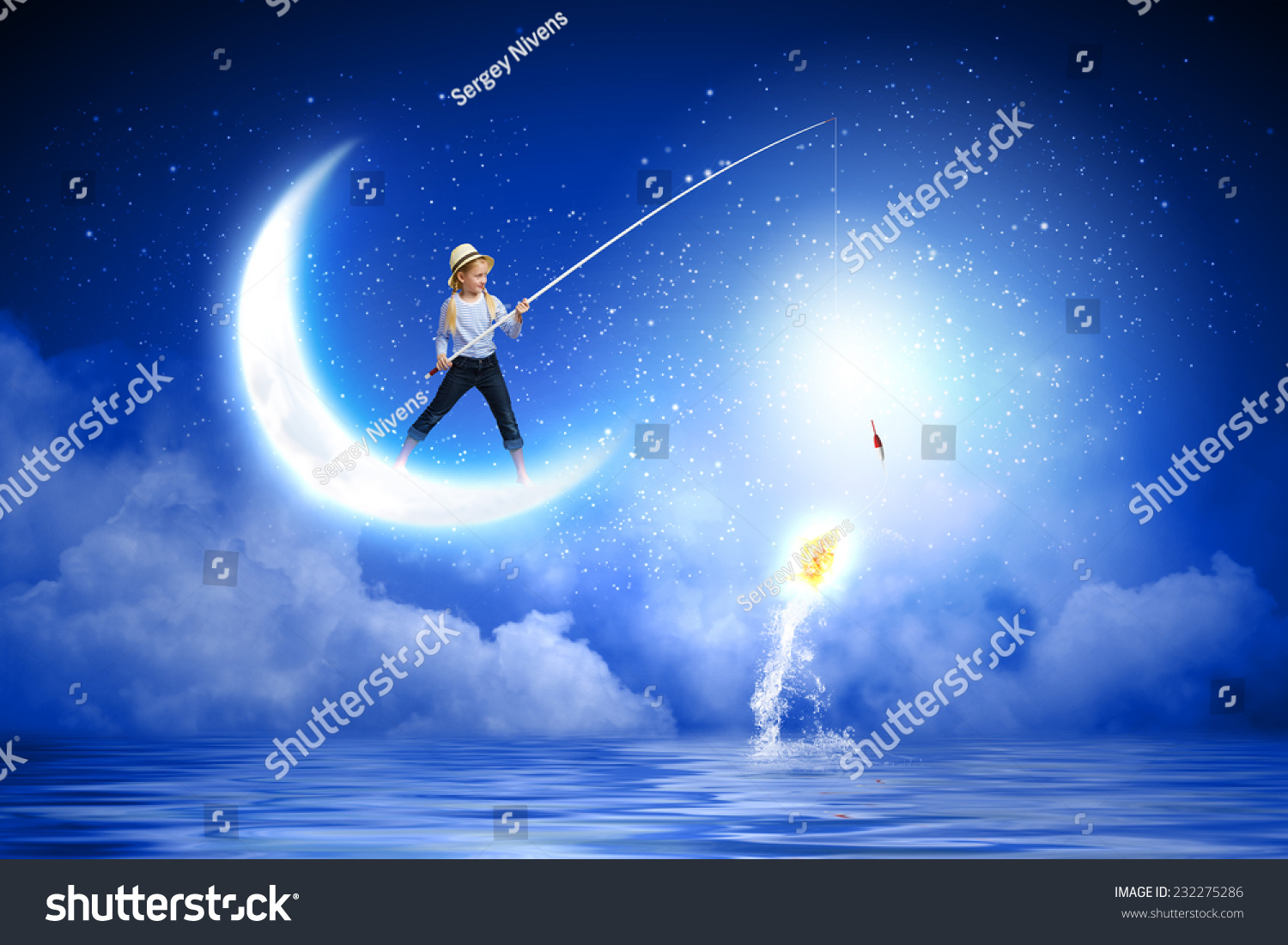 Cute girl standing on moon with fishing rod stock photo for Fishing rod sun and moon