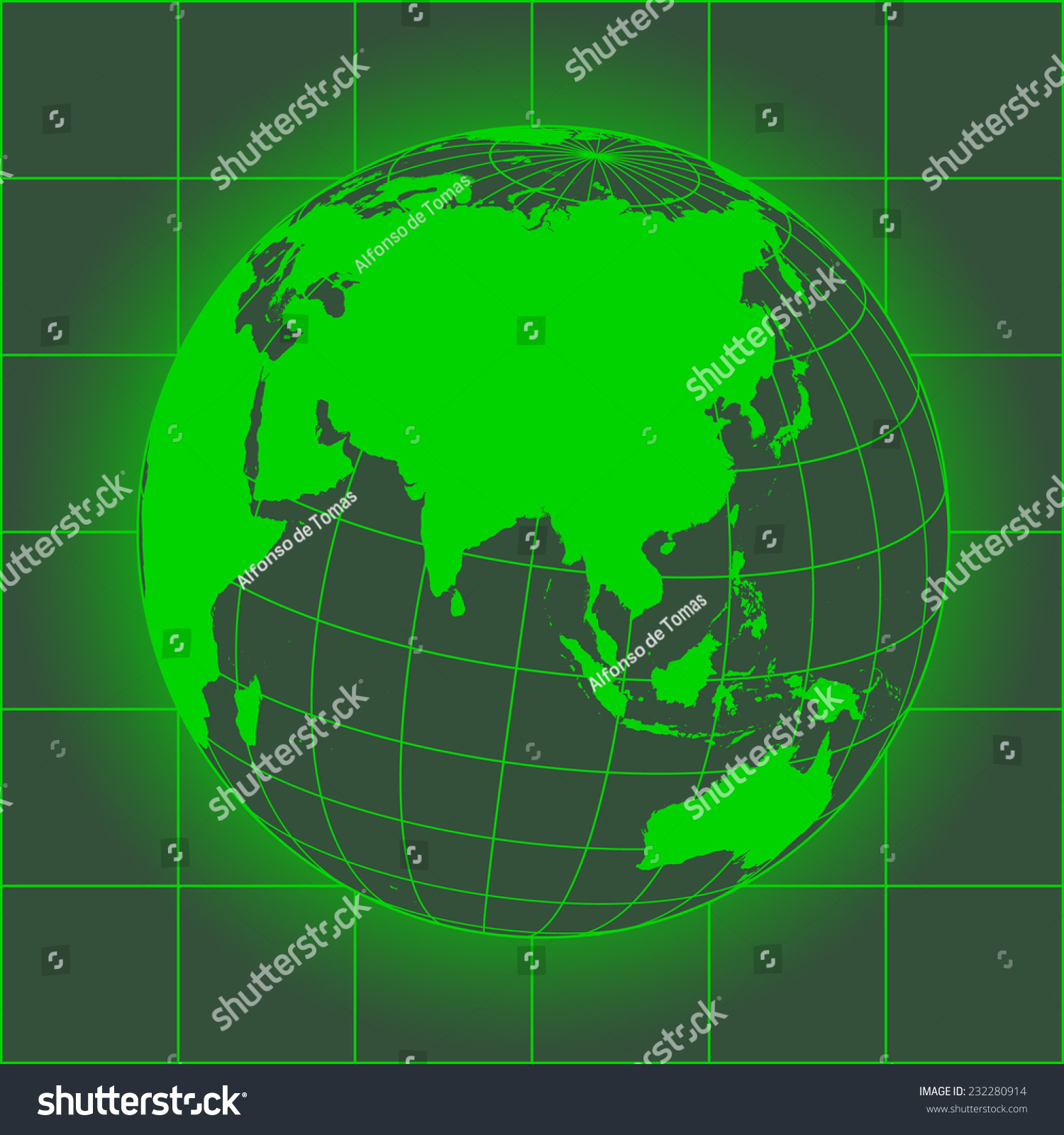 Green asia map australia russia africa stock illustration 232280914 green asia map australia russia africa north pole earth globe gumiabroncs Images