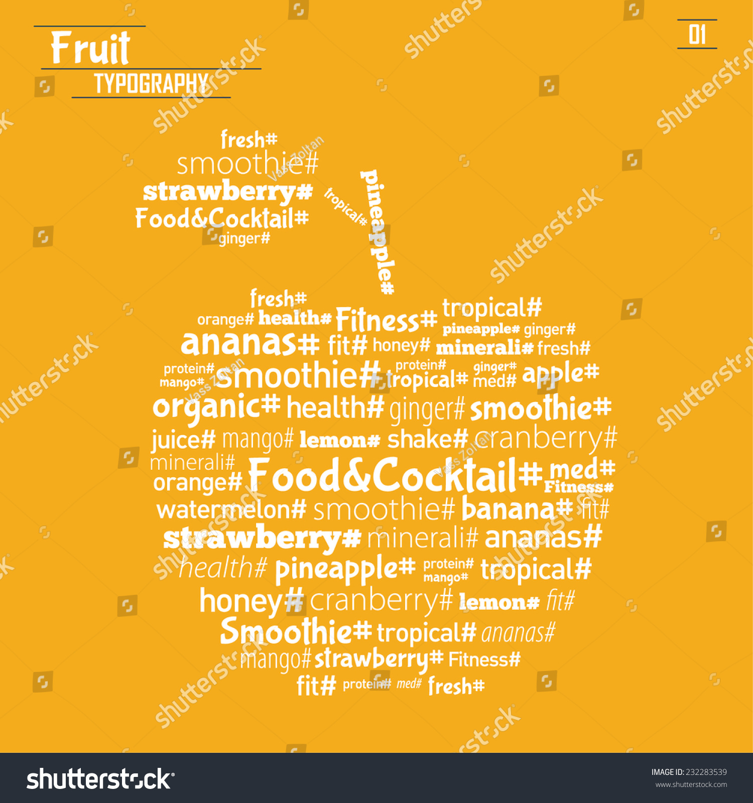 Vector Fruit Typography Wall Decor Web Stock Vector 232283539 ...