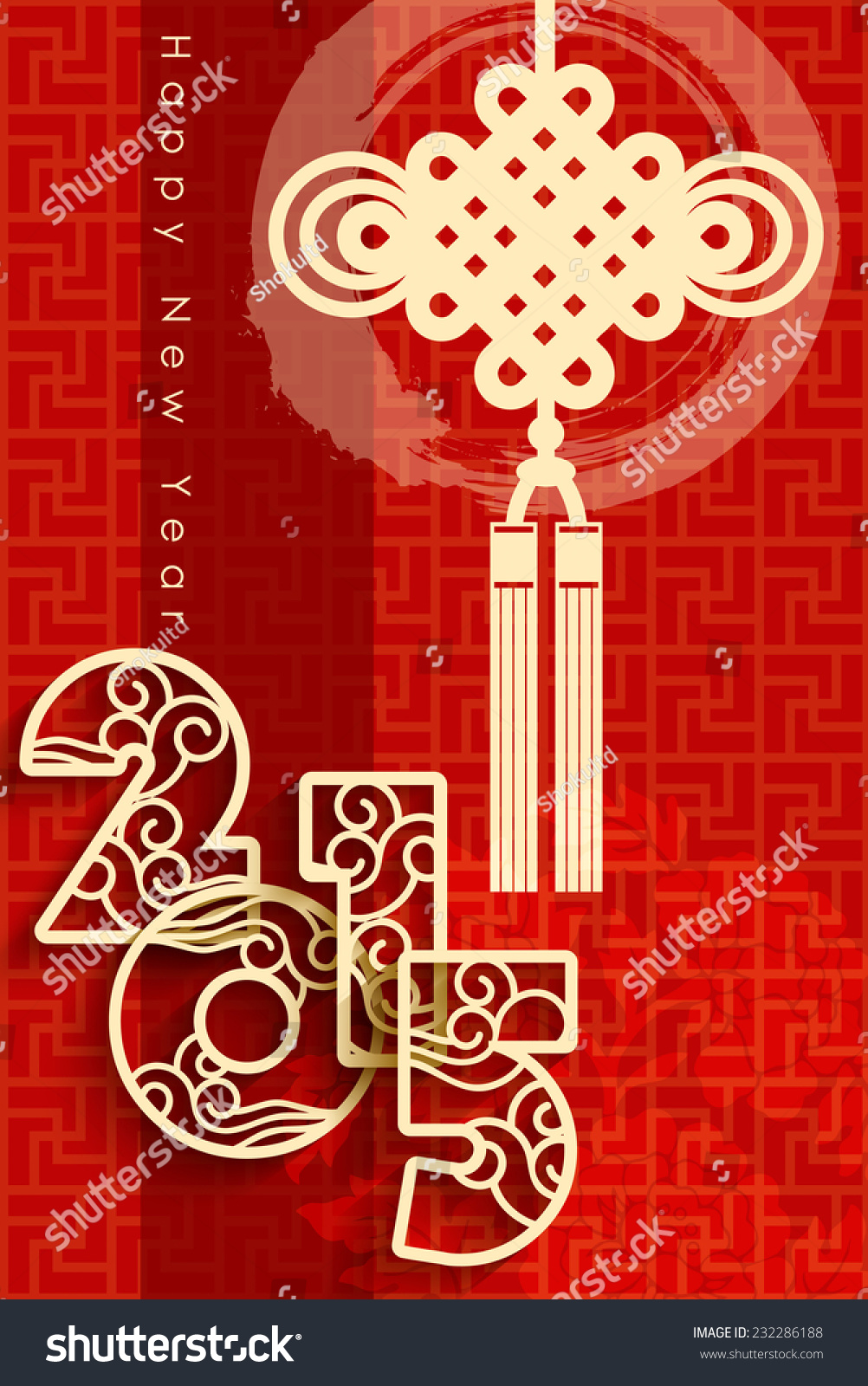 2015 chinese style new year greeting card design  stock