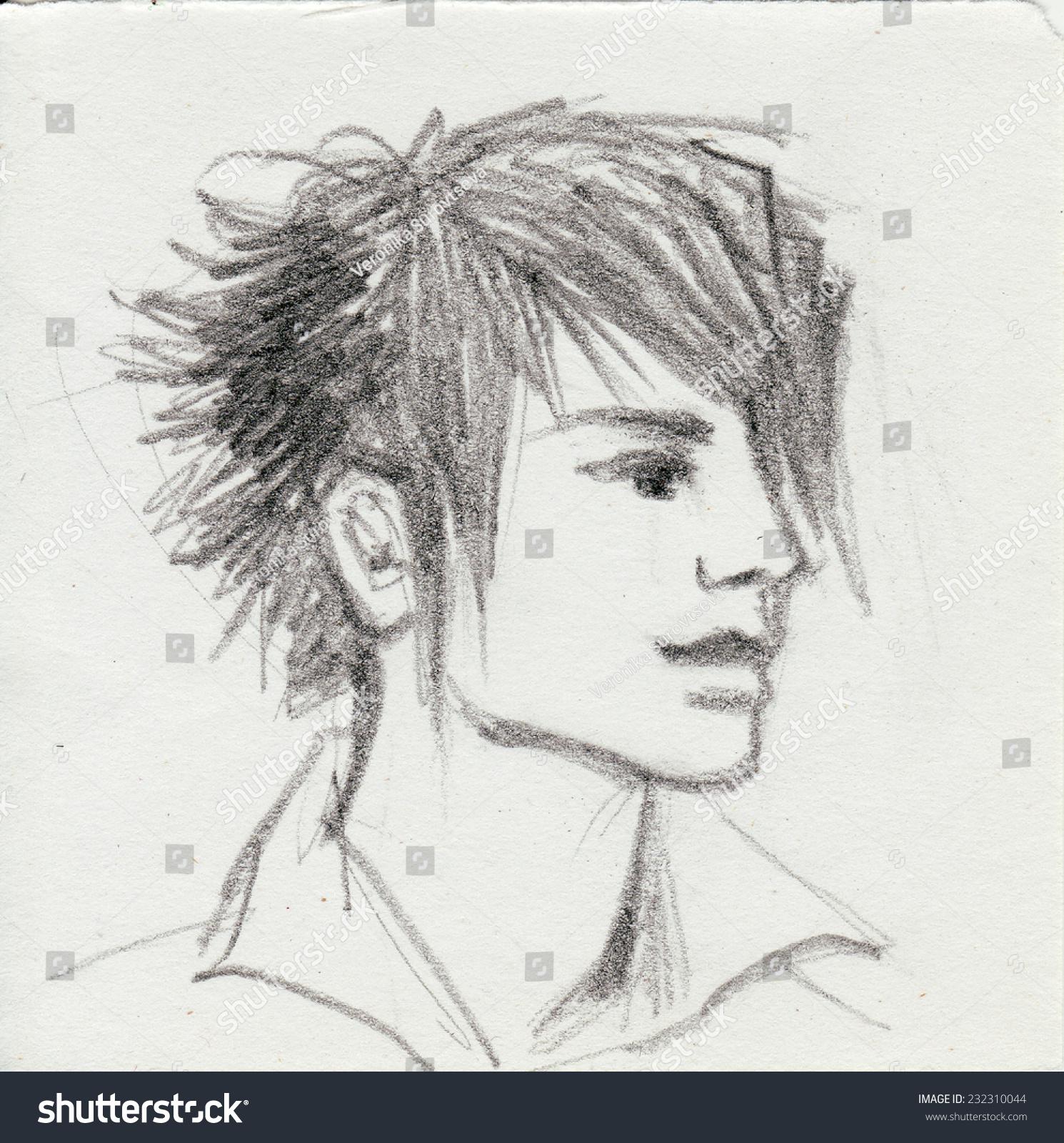 Three quarter view of an emo boy head original pencil sketch