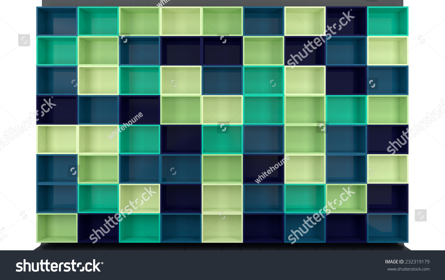 architectural background empty colorful shelves different