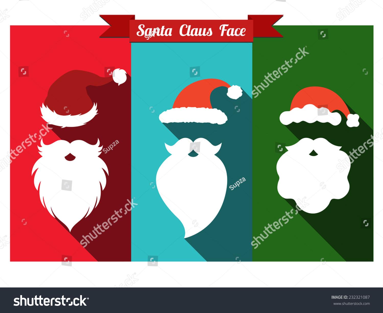 d47610e39b7 Santa claus face flat icons with long shadow. Set of santa hats and beards.  - Vector
