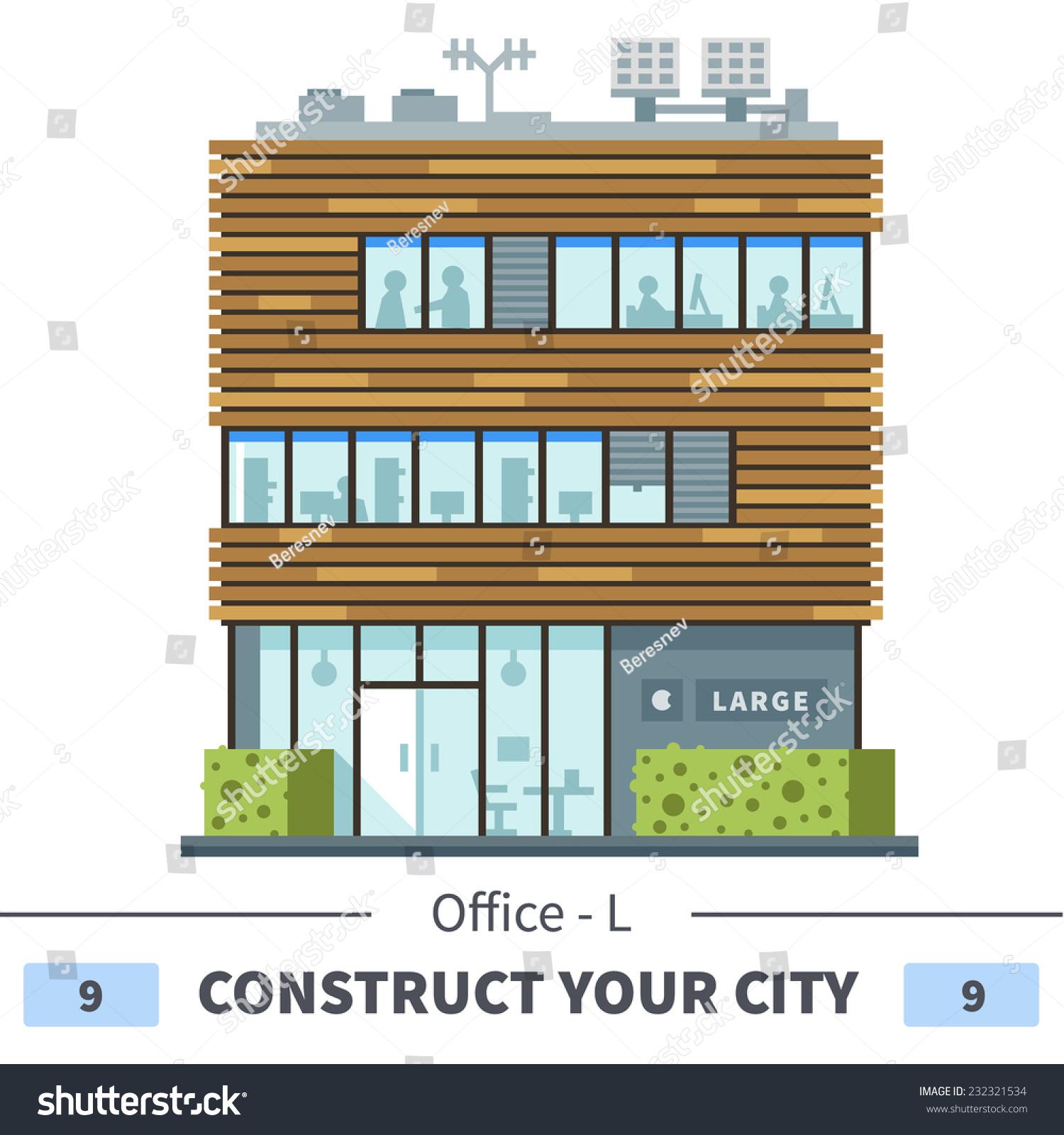 Modern business center shops cafes set stock vector for Modern office building design concepts exterior