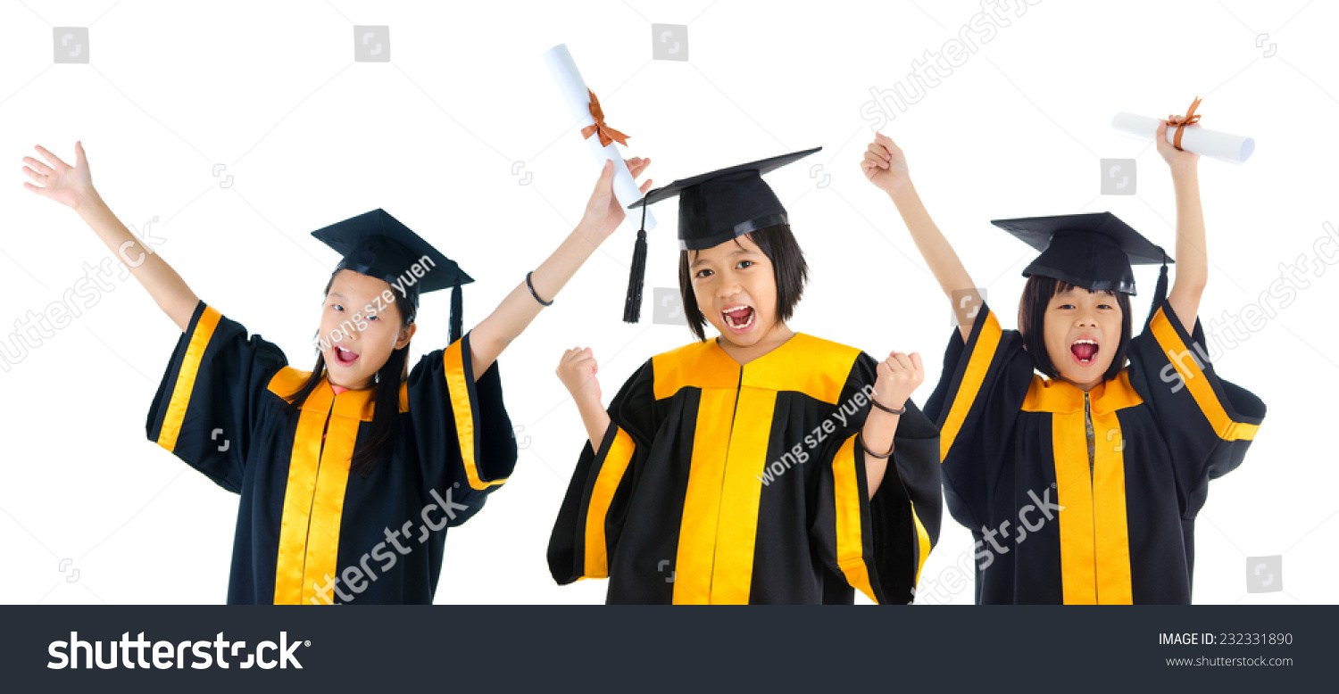 Group Excited School Kids Graduation Gown Stock Photo (Edit Now ...