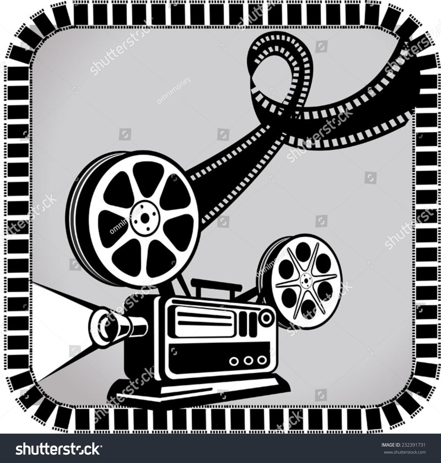 Old Movie Projector Film Reels Stock Vektorgrafik Lizenzfrei